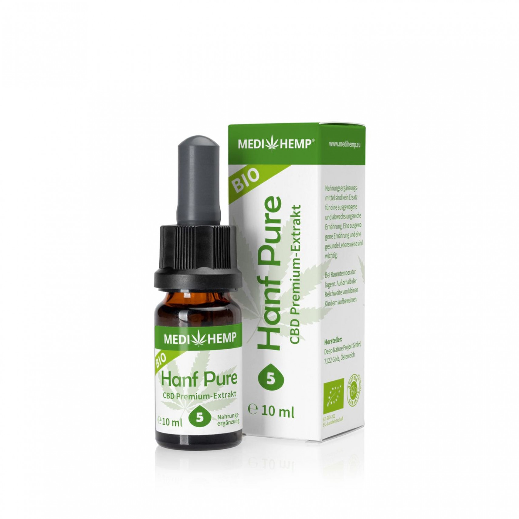 CBD olej BIO Organic Hemp Pure 5% 500mg 10ml MEDIHEMP