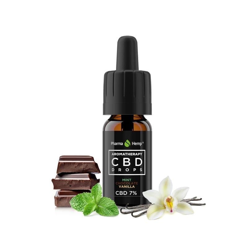 CBD drops aromaterapie 7% 700mg 10ml máta, čokoláda a vanilka Pharma Hemp