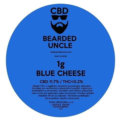 CBD květy weed BLUE CHEESE 1g BEARDED UNCLE