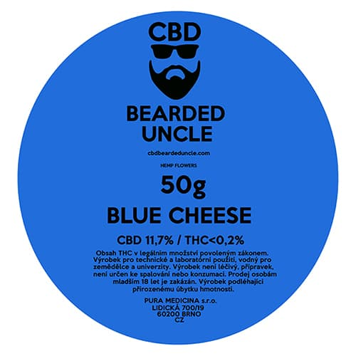 CBD květy weed BLUE CHEESE 50g BEARDED UNCLE