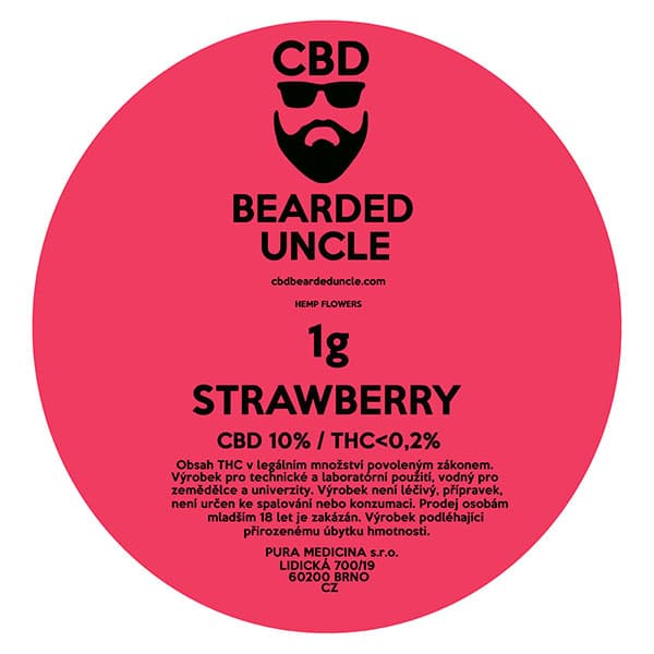 CBD květy weed STRAWBERRY 1g BEARDED UNCLE