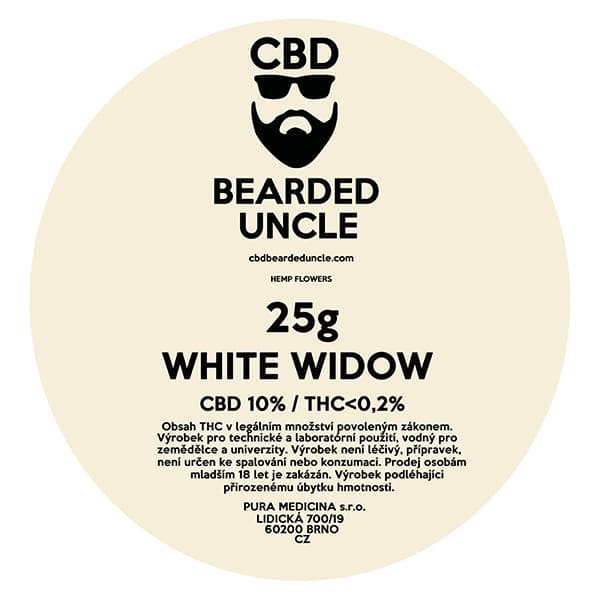 CBD květy weed WHITE WIDOW 25g BEARDED UNCLE
