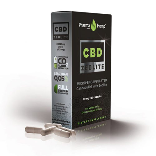 CBD kaplse zeolite 600mg 20mg 30ks Pharma Hemp