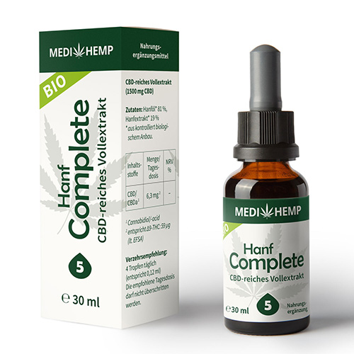 CBD olej 5% complete 1500mg 30ml CO2 extrakce MEDIHEMP