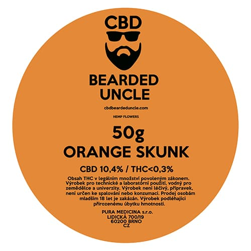 CBD květy weed ORANGE SKUNK 50g BEARDED UNCLE
