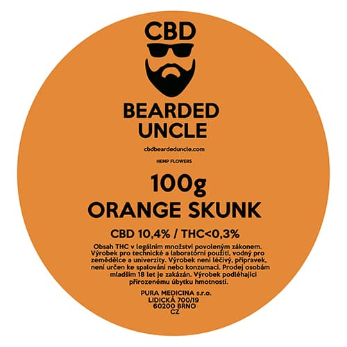 CBD květy weed ORANGE SKUNK 100g BEARDED UNCLE