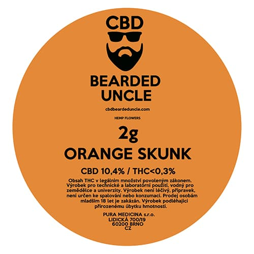 CBD květy weed ORANGE SKUNK 2g BEARDED UNCLE