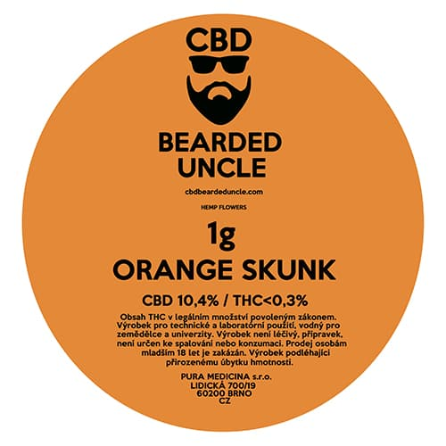 CBD květy weed ORANGE SKUNK 1g BEARDED UNCLE