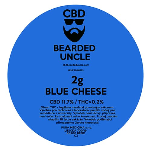 CBD květy weed BLUE CHEESE 2g BEARDED UNCLE