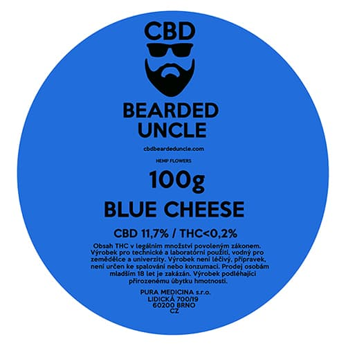 CBD květy weed BLUE CHEESE 100g BEARDED UNCLE