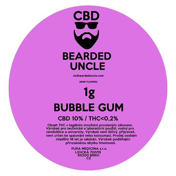 CBD květy weed BUBBLE GUM 1g BEARDED UNCLE