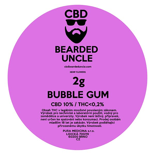 CBD květy weed BUBBLE GUM 2g BEARDED UNCLE