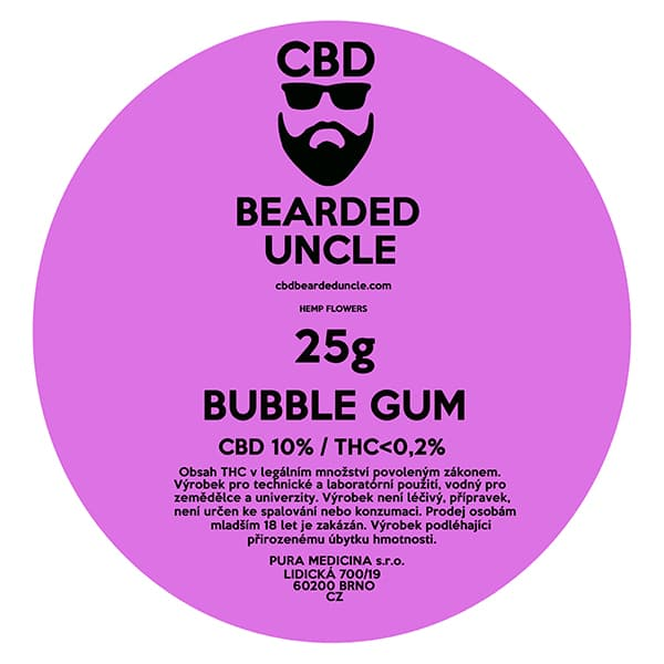 CBD květy weed BUBBLE GUM 25g BEARDED UNCLE