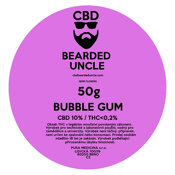 CBD květy weed BUBBLE GUM 50g BEARDED UNCLE