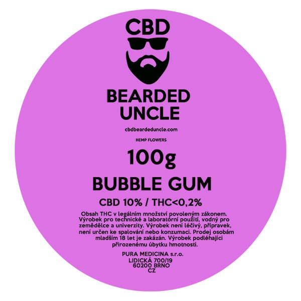 CBD květy weed BUBBLE GUM 100g BEARDED UNCLE