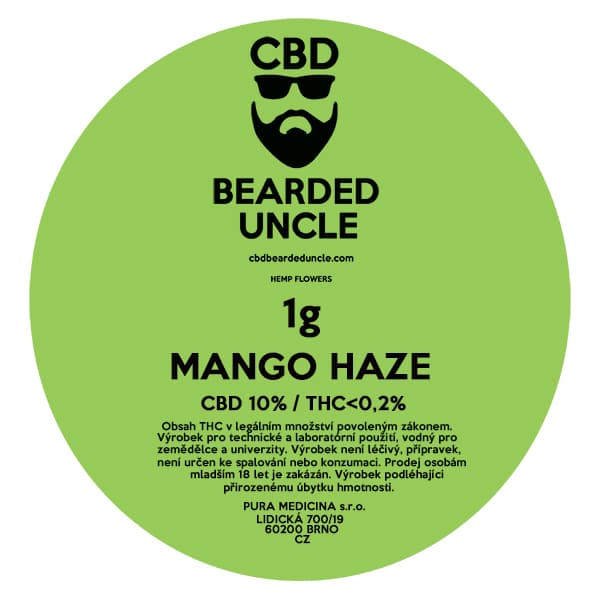 CBD květy weed MANGO HAZE 1g BEARDED UNCLE