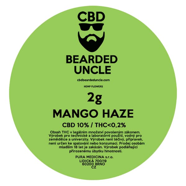 CBD květy weed MANGO HAZE 2g BEARDED UNCLE