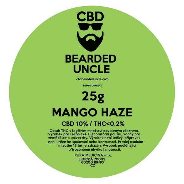 CBD květy weed MANGO HAZE 25g BEARDED UNCLE