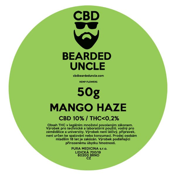 CBD květy weed MANGO HAZE 50g BEARDED UNCLE