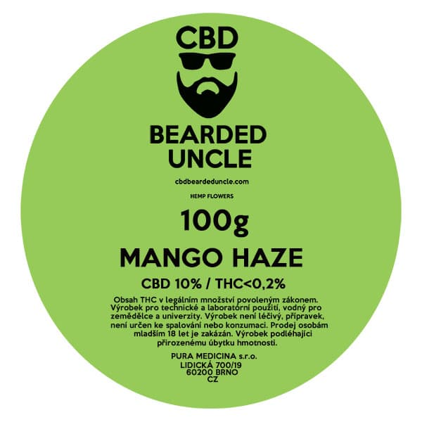 CBD květy weed MANGO HAZE 100g BEARDED UNCLE