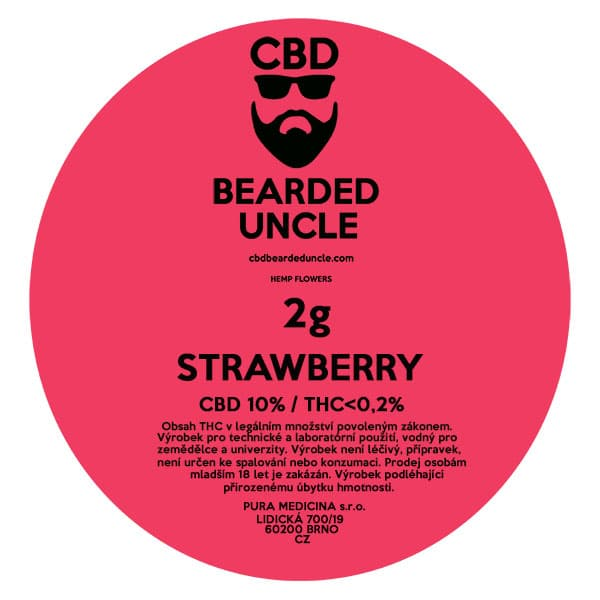 CBD květy weed STRAWBERRY 2g BEARDED UNCLE