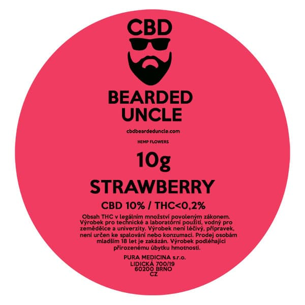 CBD květy weed STRAWBERRY 10g BEARDED UNCLE