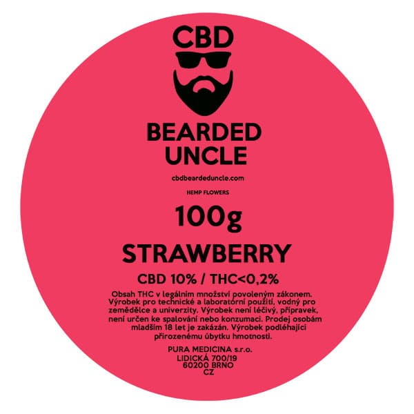 CBD květy weed STRAWBERRY 100g BEARDED UNCLE
