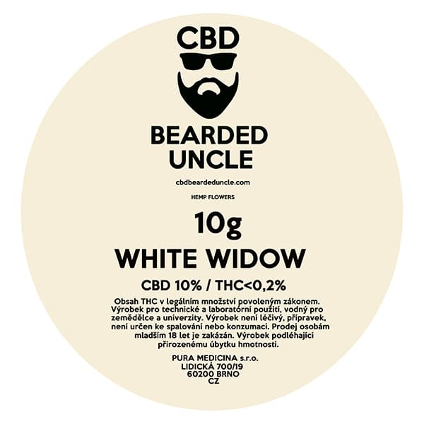 CBD květy weed WHITE WIDOW 10g BEARDED UNCLE