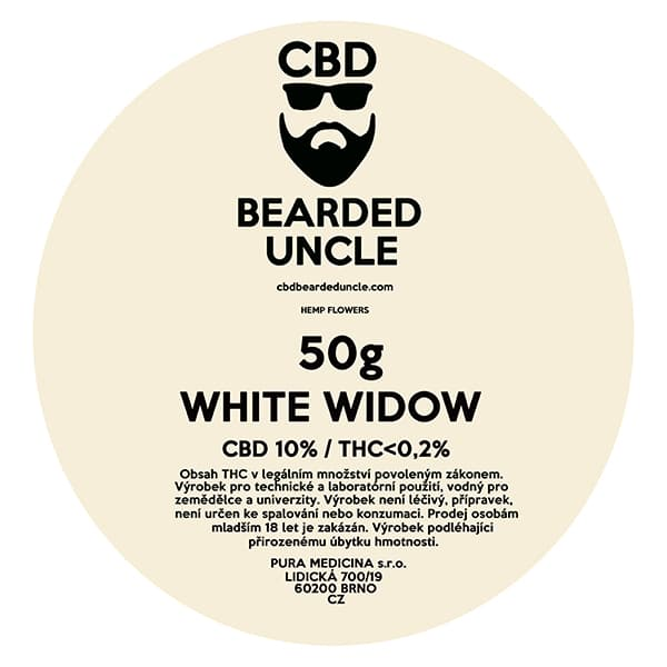 CBD květy weed WHITE WIDOW 50g BEARDED UNCLE